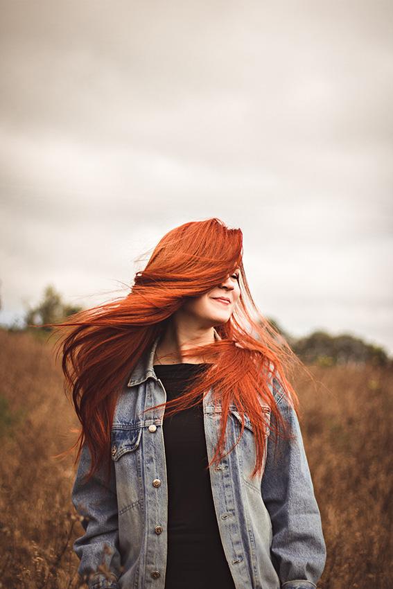 Přirozené zrzavé vlasy a metoda No poo